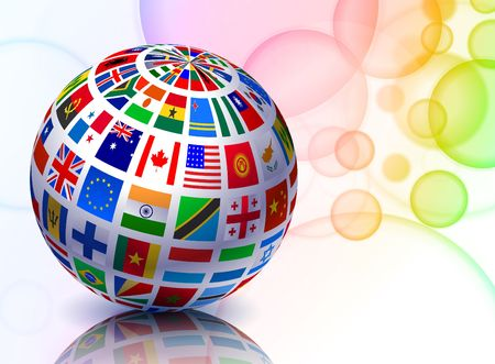 Flag Globe on Abstract Color Background Original  Illustration illustration