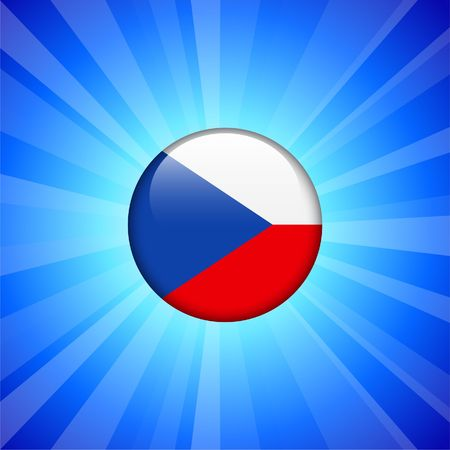 Czech Flag Icon on Internet Button Original  Illustration 版權商用圖片