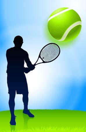 wimbledon: Tennis Player on Park Background Original Illustration