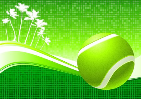 backhand: Tennis Ball on Abstract Tropical Background Original  Illustration