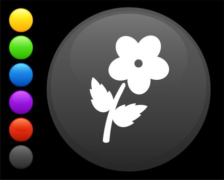flower icon on round internet button original  illustration 6 color versions included  Stock fotó