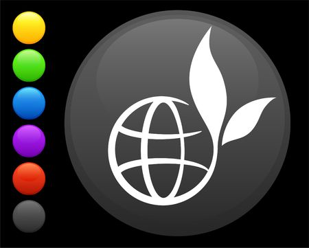 preservation: globe icon on round internet button original  illustration 6 color versions included
