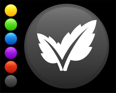 leaf icon on round internet button original  illustration 6 color versions included