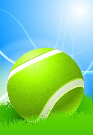 Tennis Ball on Daytime Background Original Illustration illustration