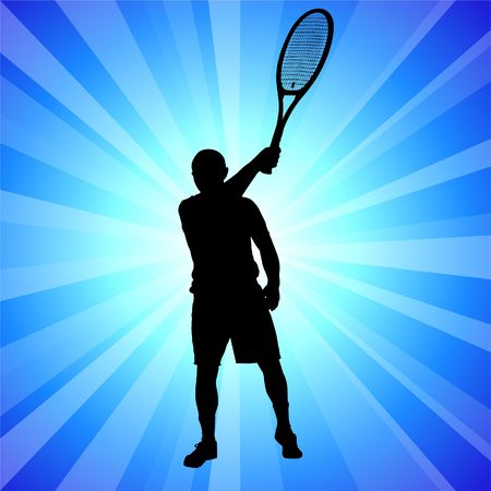 backhand: Tennis Player on Abstract Blue Background Original illustration