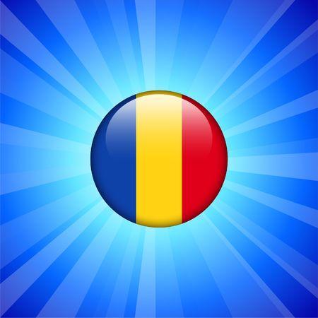 Roemenië vlagpictogram op internet knop originele illustratie