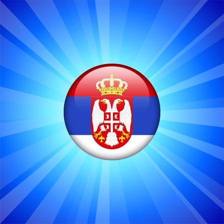 serbia: Serbia Flag Icon on Internet Button Original   Illustration