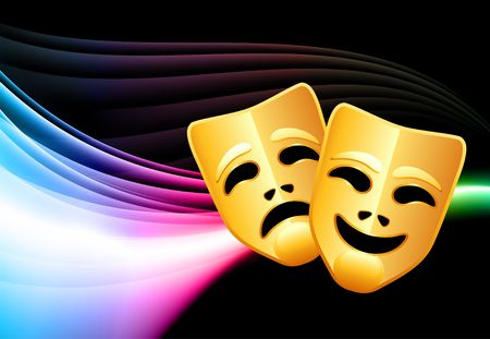 comedy: Comedy and Tragedy Abstract Color Background Original  Illustration