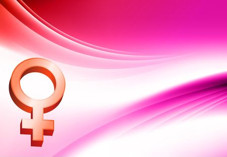 Female Symbol on Abstract Color Background Original  Illustration