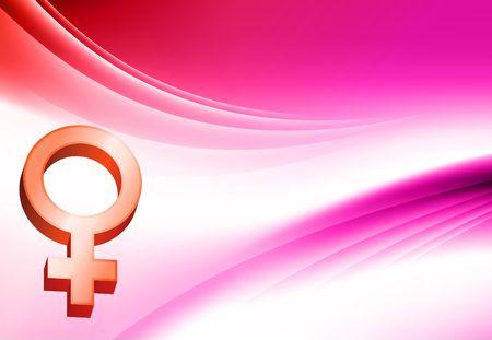 gender symbol: Simbolo femmina su astratto colore sfondo illustrazione originale