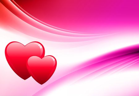 Hearts on Abstract Color Background Original  Illustration