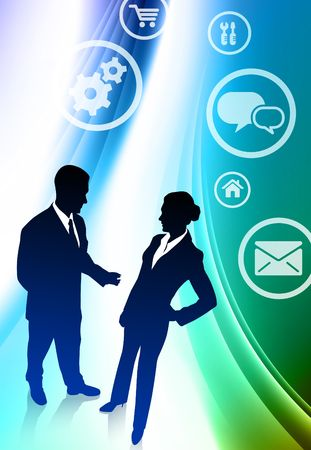 Business Couple on Abstract Color Background Original Illustration