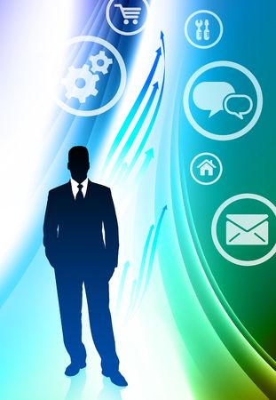 Businessman with Internet Icons on Abstract Color Background Original  Illustration illustration