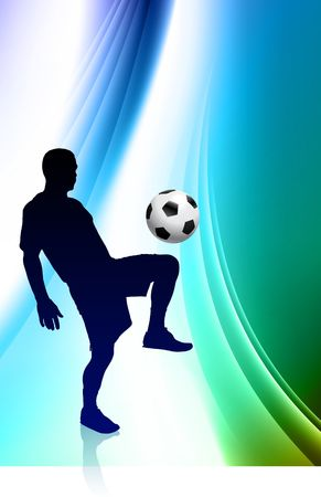 Soccer Player on Abstract Color Background Original  Illustration