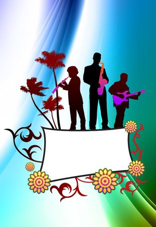 Live Music Band on Abstract Color Background Original  Illustration illustration