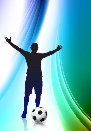 Soccer Player on Abstract Color Background Original Illustration illustration