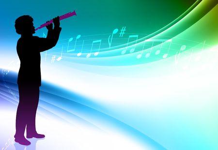 Flute Player on Abstract Color Background Original  Illustration illustration