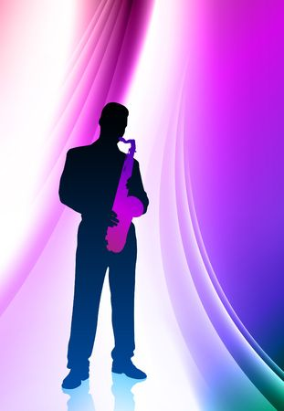 Saxophone player on Abstract Color Background Original Illustration illustration