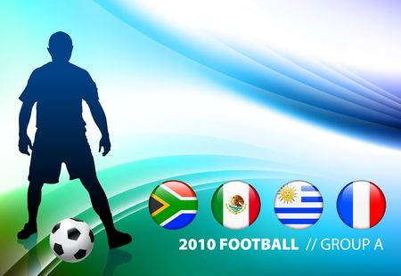 World Soccer Football Group A on Abstract Color Background Original  Illustration illustration