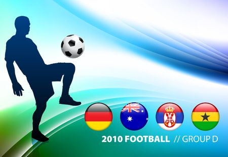 World Soccer Football Group D on Abstract Color Background Original  Illustration