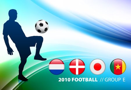 World Soccer Football Group E on Abstract Color Background Original Illustration Stock Photo