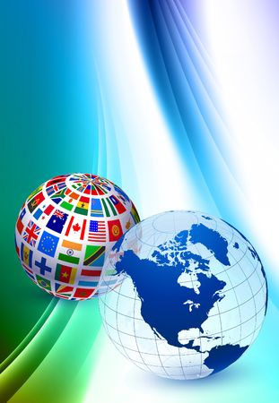 Globe Sets on Abstract Color Background Original  Illustration