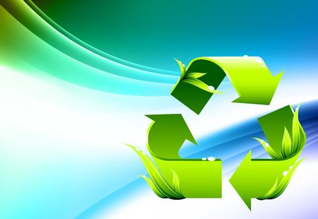 Recycle Symbol on Abstract Color Background Original Illustration Stock fotó