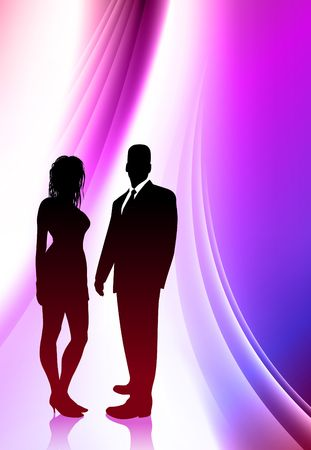 Sexy Young Couple on Abstract Color Background Original  Illustration