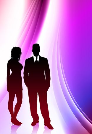 transparent dress: Sexy Young Couple on Abstract Color Background Original  Illustration