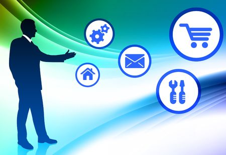 Businessman with Internet Icons on Abstract Color Background Original  Illustration Archivio Fotografico