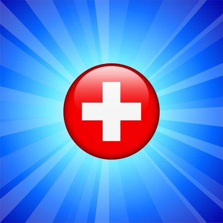 Switzerland Flag Icon on Internet Button Original  Illustration