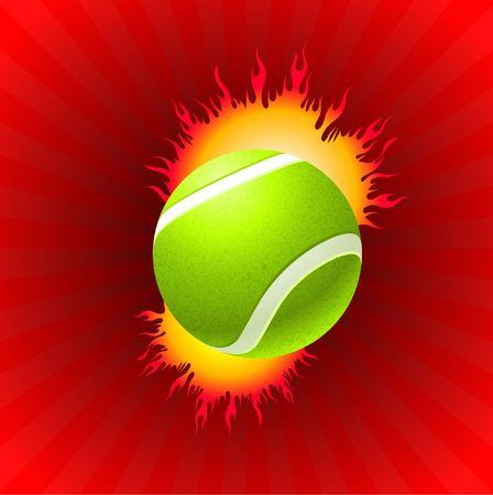 Tennis Ball on Red Background Original  Illustration illustration