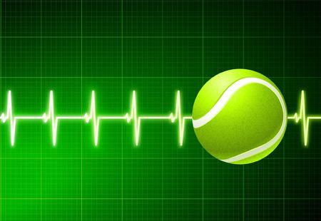 wimbledon: Tennis Ball on Green Pulse Background Original  Illustration
