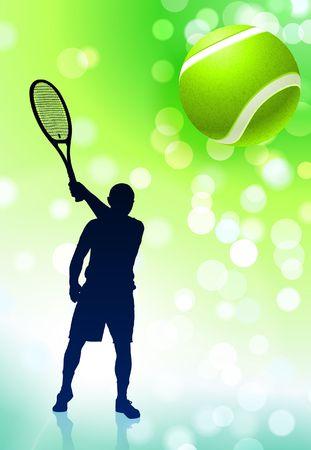 Tennis Player on Green Lens Flare Background Original  Illustration illustration