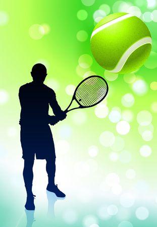 wimbledon: Tennis Player on Green Lens Flare Background Original  Illustration Stock Photo