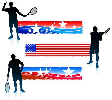 wimbledon: Tennis Player and United States Banner Set Original  Illustration