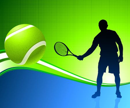 Tennis Player on Abstract Background Original  Illustration