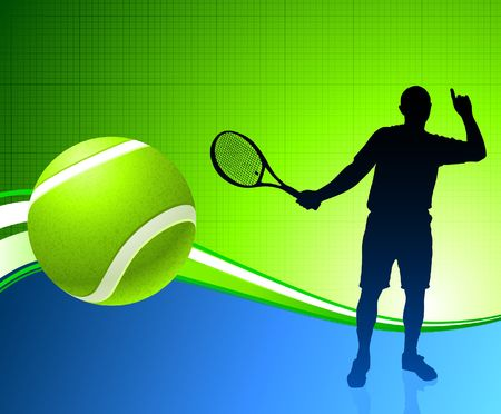 wimbledon: Tennis Player on Abstract Background Original Illustration