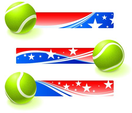 backhand: Tennis Ball with Patriotic Banners Original Illustration