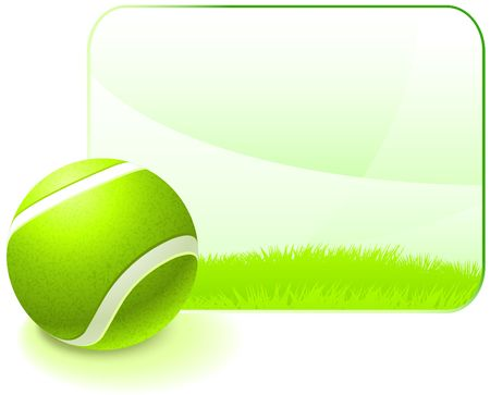 backhand: Tennis Ball with Blank Nature Frame Original  Illustration Stock Photo
