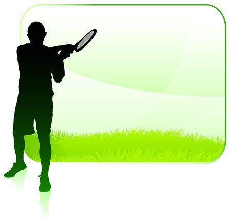 wimbledon: Tennis Player with Blank Nature Frame Original  Illustration Stock Photo