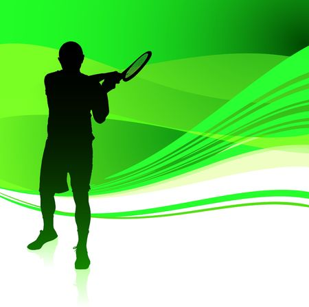 Tennis Player on Green Abstract Background Original  Illustration illustration