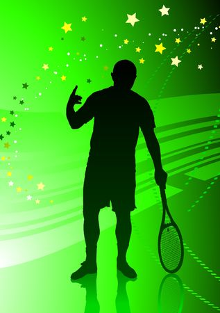 wimbledon: Tennis Player on Abstract Green Background Original  Illustration Stock Photo
