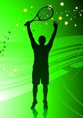 wimbledon: Tennis Player on Abstract Green Background Original  Illustration Stock Photo