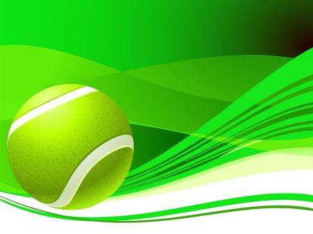 backhand: Tennis Ball on Green Abstract Background Original  Illustration