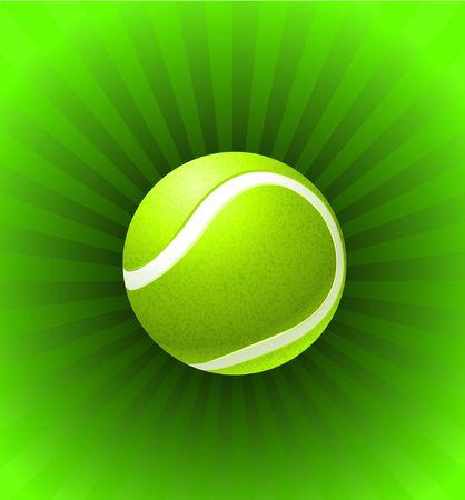 Tennis Ball on Green Background Original Illustration Stok Fotoğraf