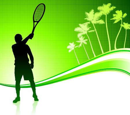backhand: Tennis Player on Tropical Abstract Background Original  Illustration
