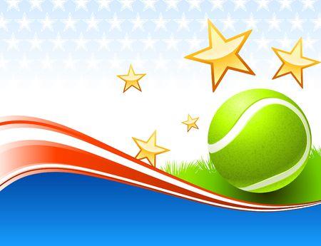 Tennis Ball on United States wave Background Original  Illustration