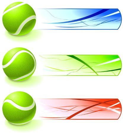 Tennis Ball Collection with Banner Original  Illustration illustration