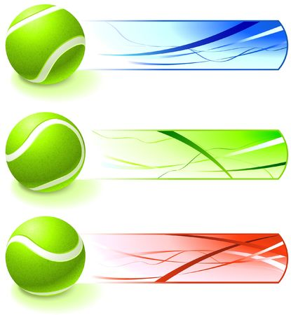 Tennis Ball Collection with Banner Original  Illustration illustration